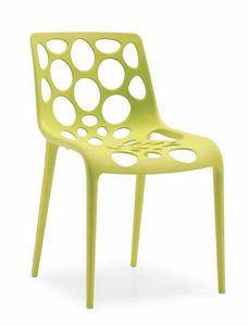 Lotus, Stuhl aus Polypropylen mit Schale mit kreisförmigen Löchern