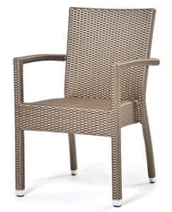 Lotus sessel, Stuhl mit Armlehnen, mit Kunststoff beschichtet, für den Außeneinsatz