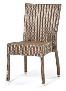 Lotus Stuhl, Stapelbarer Stuhl, handgewebt, Aluminium-Basis