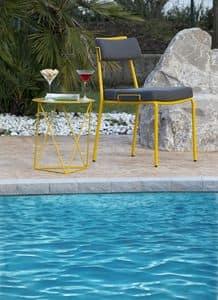 Lucky, Metallstuhl mit Kissen ideal für Outdoor-Umgebungen