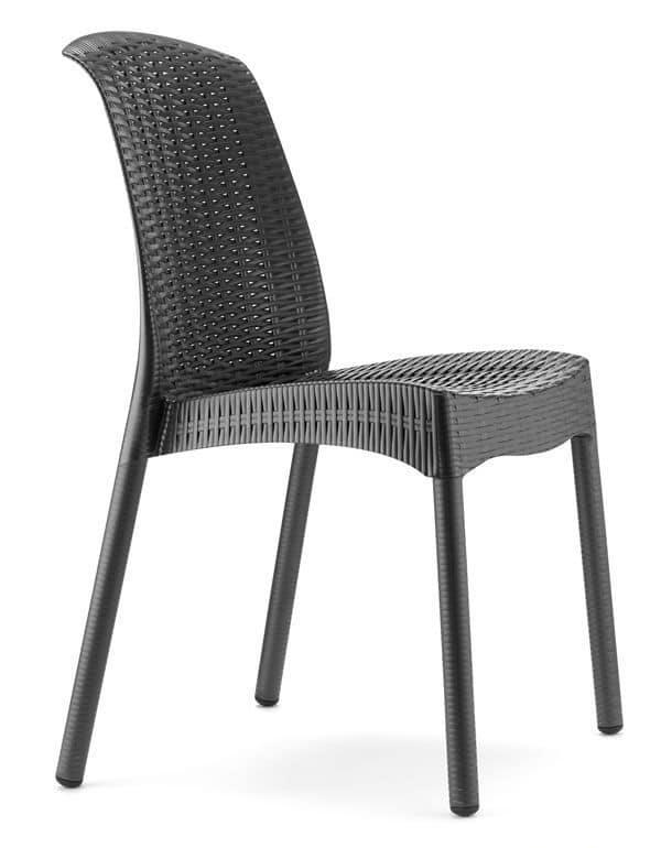 Olimpia Chair Trend, Design Stapelstuhl Aus Technopolymer Und Aluminium,  Für Garten