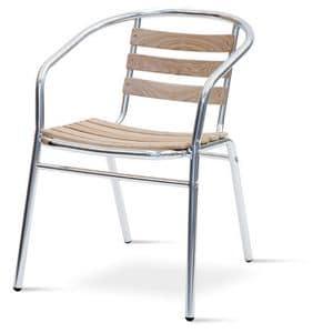 PL 410, Stuhl mit Armlehnen aus Aluminium und Teakholz, für den Außenbereich