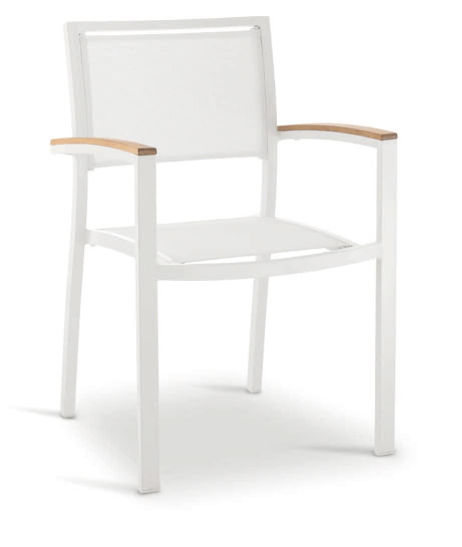 PL 465, Stuhl mit Armlehnen, in Aluminium, Holz und textilene