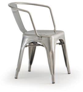 PL 500 / EST, Stapelbarer Stuhl mit Armlehnen, in lackiertem Metall
