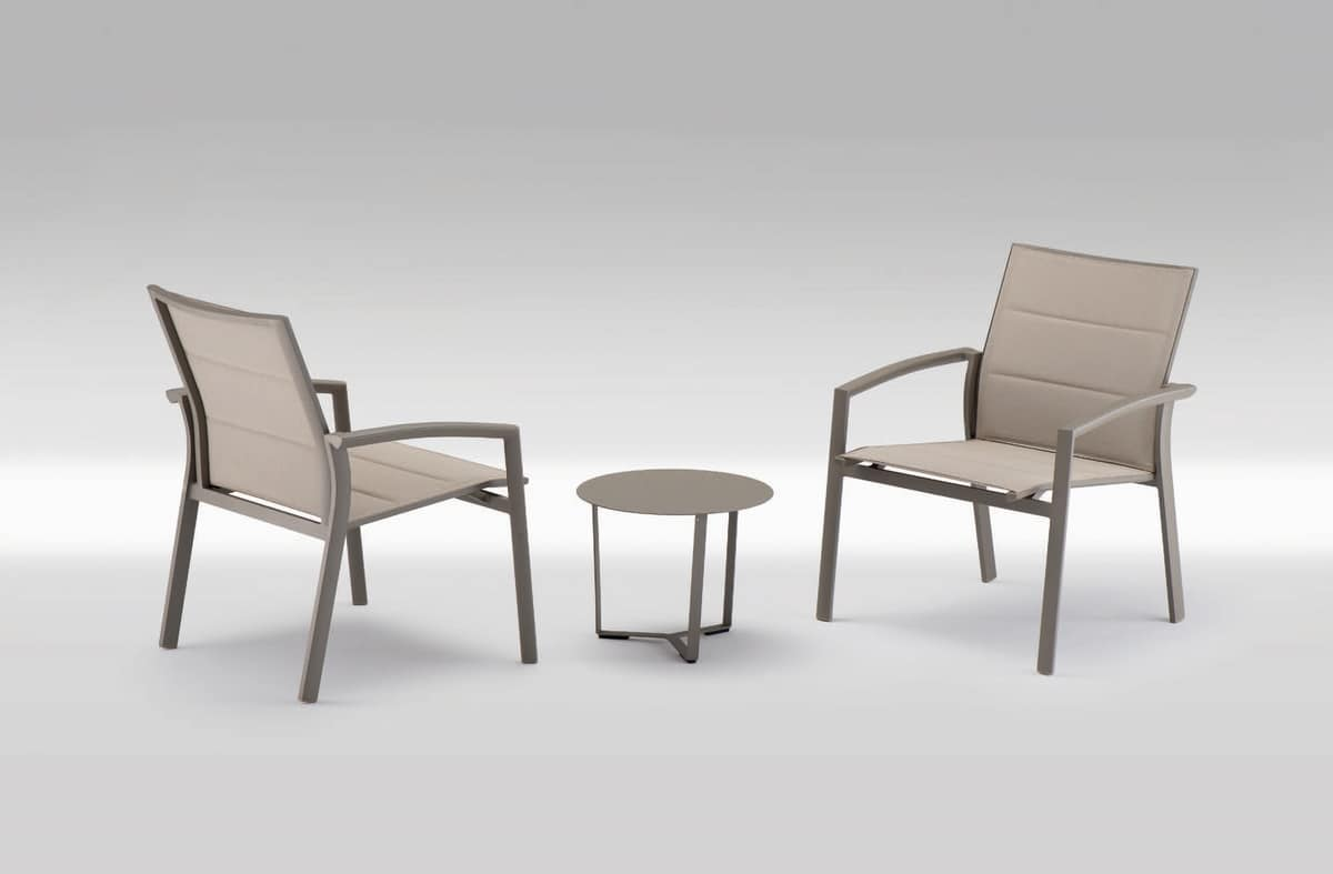 PL 740, Stuhl mit Armlehnen mit großen Sitz, in Textilene