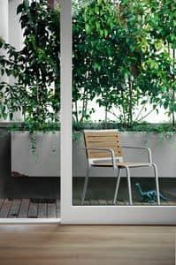 Rest, Aluminiumstuhl mit Sitz aus Polyester, für Außen