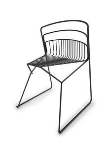 Ribelle Stuhl, Stuhl komplett in Stahlstange, für Innen- und Außenbereich