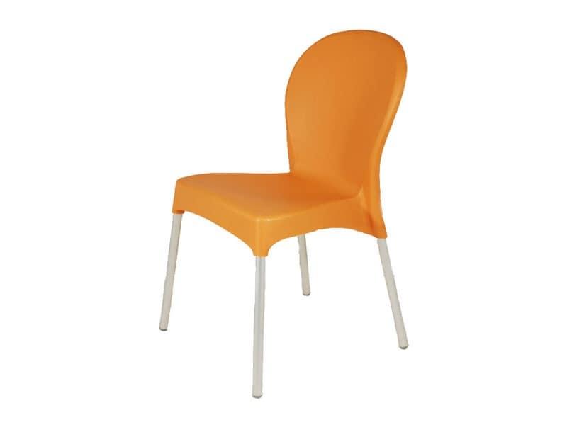 SE 029, Stuhl aus Kunststoff mit Aluminiumbeinen, für Garten und Bar