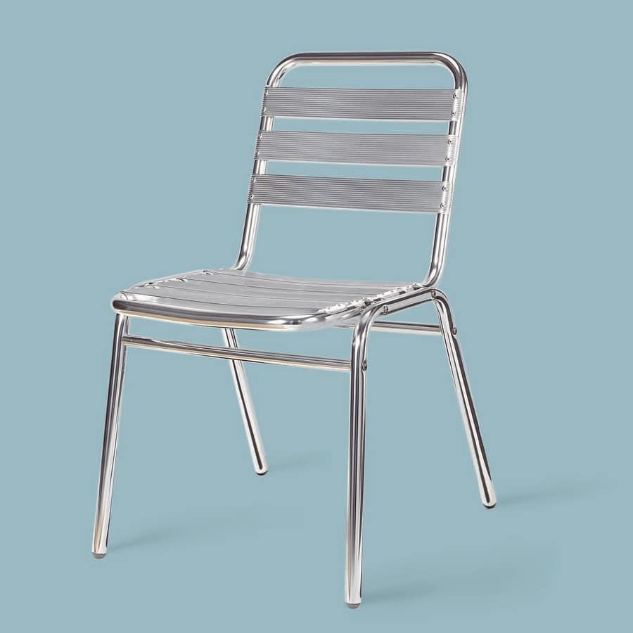 SE 060, Poliertem Aluminium Stuhl, für den Außenbereich
