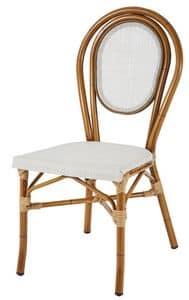 SE 411, Stapelbarer Stuhl aus Aluminium und textilene, in Bambus-Stil