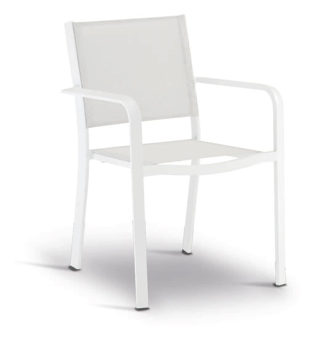 SE 469, Stapelbarer Stuhl aus Aluminium, beschichtet in Textilene