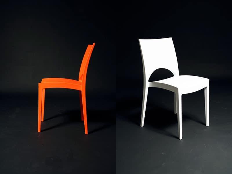 SE 6314, Moderne Kunststoff-Stuhl, für den Außen Pizzeria