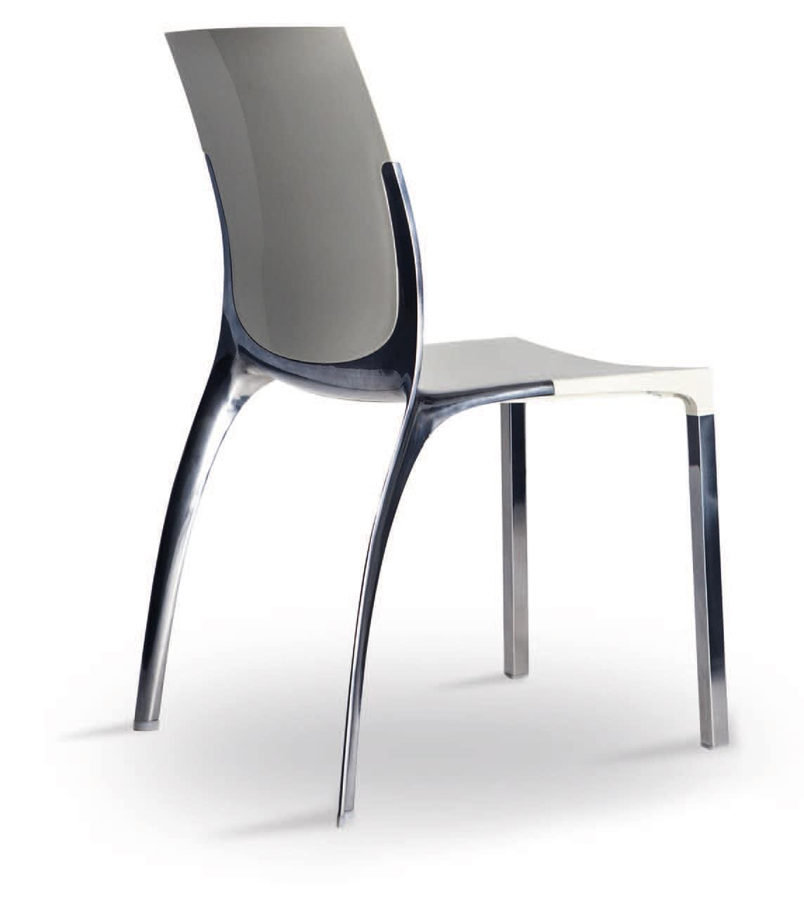 stuhl aus aluminium und polycarbonat in eleganten stil. Black Bedroom Furniture Sets. Home Design Ideas