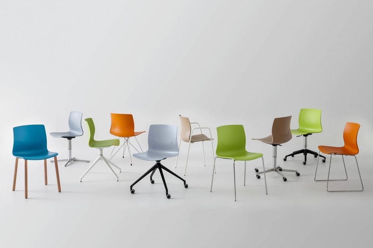 Slot NA, Stuhl mit verchromtem Metallbeine, Schale in Polymer