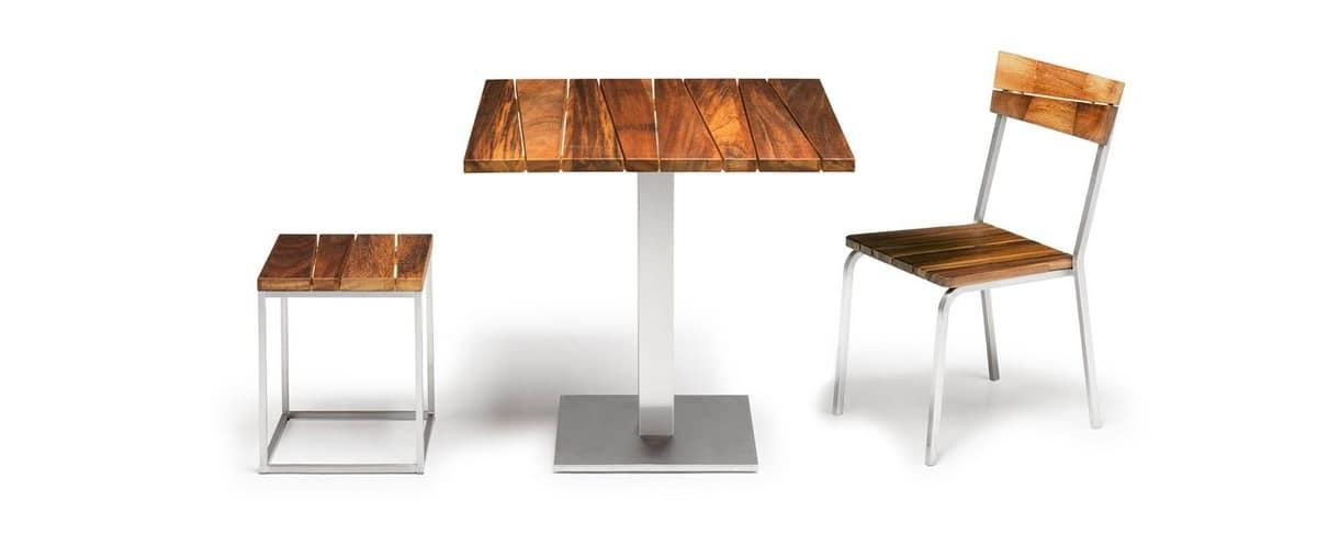 au en stuhl iroko holz und stahl stapelbar idfdesign. Black Bedroom Furniture Sets. Home Design Ideas