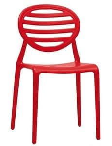 Top Gio, Stapelbarer Stuhl aus Technopolymer, auch für Garten