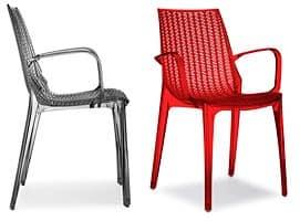 Tricot, Moderne Stuhl aus Polycarbonat, stapelbar, für Gärten