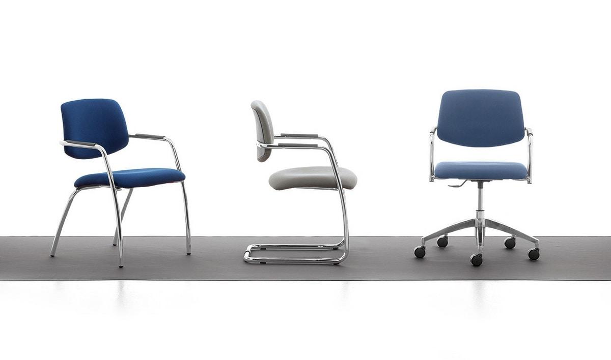 Samba, Stuhl auf Kufen aus verchromtem Metall für Büro-und Warteräume