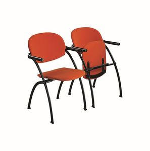 Aura linking chair, Steckbare Metallstuhl mit Klappsitz