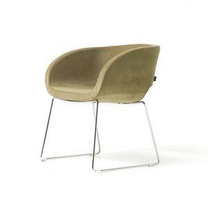 Vanity 4 legs, Sessel mit vier Chrombeine, Metall-Innenschale