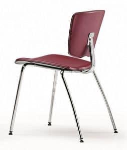VEKTATOP 120, Stapelbare Stuhl aus Metall, Sitz in Leder bezogen