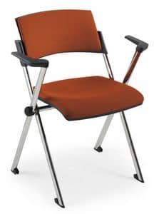 Comoda Soft 02, Stapelstuhl mit Armlehnen, aus Stahl, für Konferenzsäle