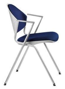 NESTING DELFI 089 S, Stapelbarer Stuhl aus Metall mit gepolstertem Sitz