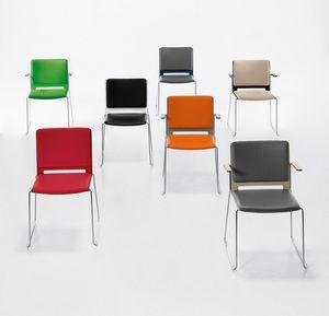Easy Soft 02, Gepolsterte stapelbarer Stuhl mit Armlehnen, Stahlbasis