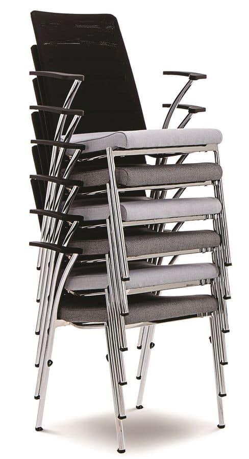 Evosa Congress 08/4A, Sehr leichter Stuhl mit Metallgestell mit Kupplungssystem für Tagungen und Konferenzen