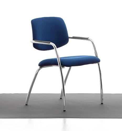 Samba 02, Verchromte Metallstuhl, gepolsterter Sitz und Rücken, für das Büro