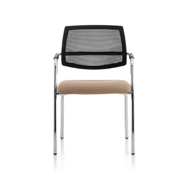 Samba Air 02, Stuhl mit 4 Beinen aus verchromtem Metall, Netzrücken
