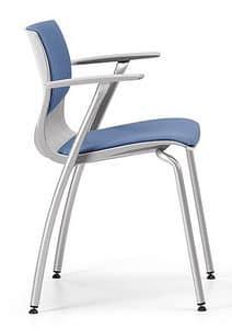 WEBBY 338 S, Gepolsterte Metallstuhl mit Armlehnen, für Konferenzen