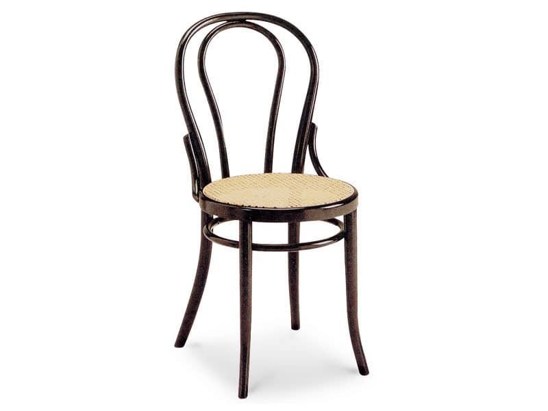 01/CR, Holzstuhl mit Sitz in Rohr und ovale Rückenlehne