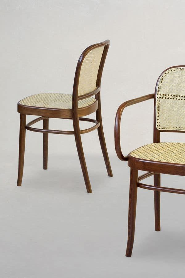06/CB, Holzstuhl mit Sitz und Rückenlehne für Stäbe aus Rohrzucker hergestellt,