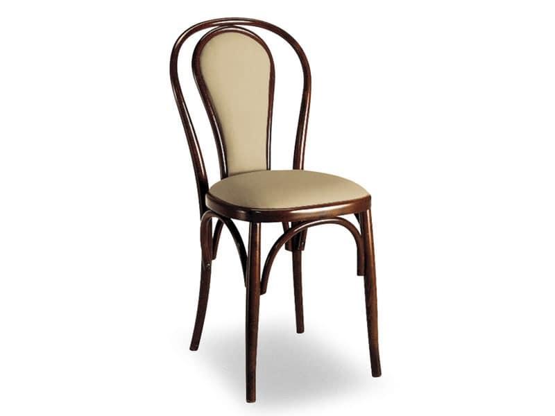 108, Holzstuhl mit gepolstertem Rückenlehne oval
