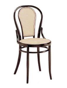 21, Stuhl aus Holz mit Zuckerrohr Sitz und Rückenlehne