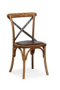 Ciao Iron, Stuhl in Buche massiv, Sitz aus Kunstleder