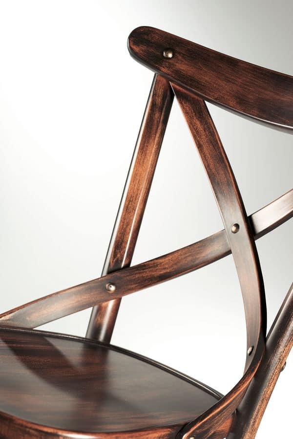 Croce, Holzstühle ohne Armlehnen, für Restaurant und Bar