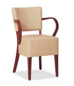 326, Stuhl mit großem gepolstertem Sitz mit Armlehnen