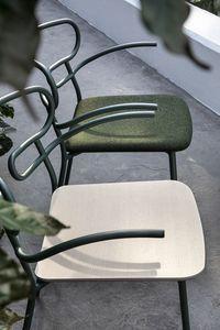 ART. 0048-MET GENOA, Metallstuhl mit Armlehnen, Holzsitz