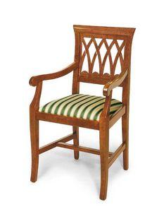 Art. 119/A, Klassischer Stuhl mit Armlehnen, gepolsterter Sitz