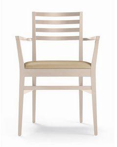 ER 440044, Stuhl mit Armlehnen, Rückenlehne mit horizontalen Lamellen