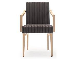 Milena-P1, Holzstuhl für Restaurant und Hotel mit Armlehnen
