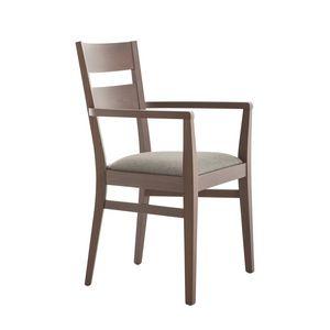 MP472AP, Stuhl mit Armlehnen, aus Buchenholz