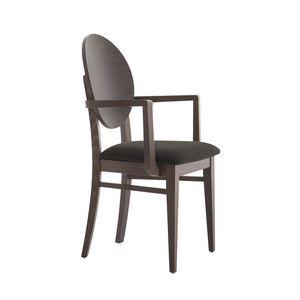 MP49WP, Stuhl mit Armlehnen, runde Holzrückenlehne