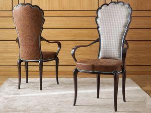Pompeiwm Stuhl, Stuhl mit Armlehnen, mit Leder bezogen