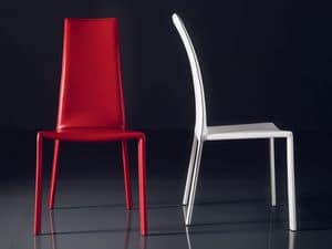 ART. 235 FIREFLY, Stuhl mit gepolsterten Ledersitz, hohe Rückenlehne, für Bars
