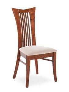 Lory, Moderner Stuhl mit hoher Rückenlehne mit vertikalen Lamellen