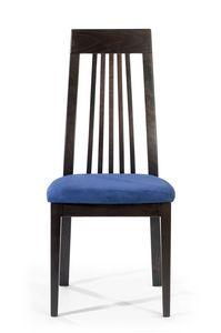 Roby A, Stuhl mit hoher Rückenlehne mit vertikalen Lamellen