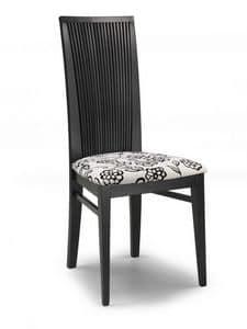 Siria V, Stuhl mit gepolstertem Sitz und hohe Rückenlehne mit Lamellen